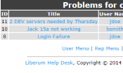 Screenshot: Problem List